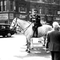 Mounted Police in Ludgate Circus, London c 1973