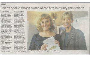 News article: Bognor Regis Observer with Helen J Christmas and author Kate Mosse