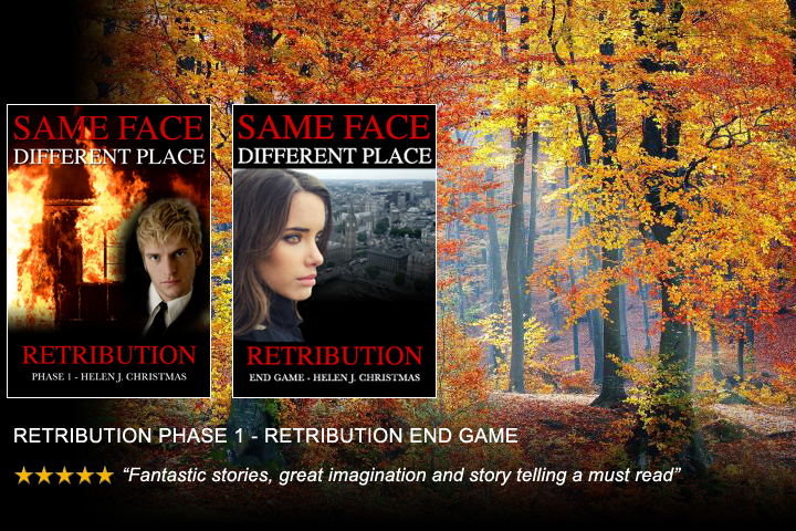 Retribution by Helen J. Christmas, books 4 and 5 in the thriller series, Same Face Different Place