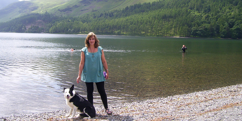 Helen Christmas at Lake Buttermere with her faithful border collie, Barney. 2013.